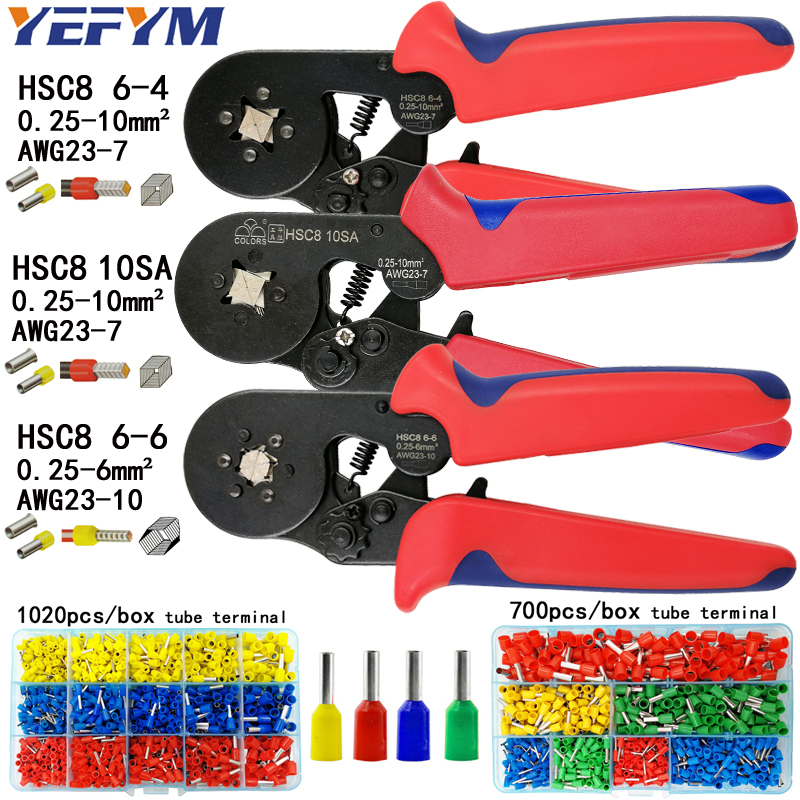 HSC8 6-4/10S crimping pliers 0.25-10mm2 23-7AWG HSC8 6-6 for tube terminal box brand mini type round nose european pliers tools