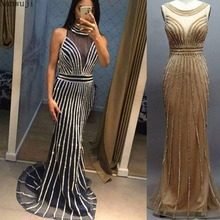 In stock New Deep-V Sexy Mermaid Tulle Evening Dresses 2018 Full Crystal Cap Sleeves Fashion Elegant Gowns