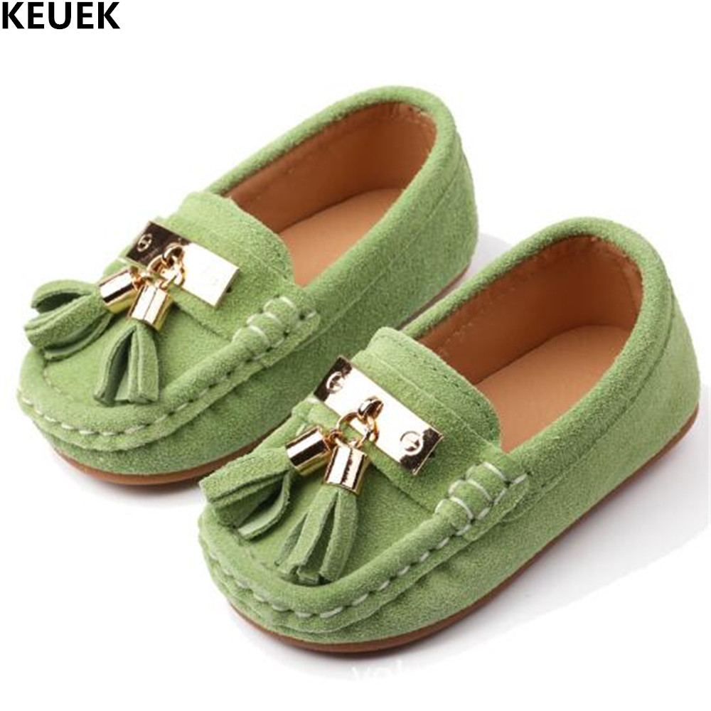 New Genuine Leather Children Shoes Spring/Autumn Kids Leather Shoes Boys Girls Casual Loafers Toddler Baby Tassel Flats 018
