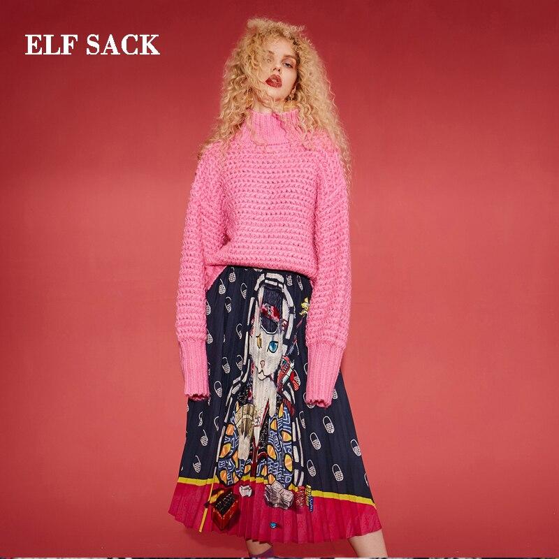 Mujer Ins La Elegante Gatos Chic Moda Mujeres De Nueva Saco Streetwear Negro Faldas Falda Rodilla Elf Estilo Hasta vxq6SFXAwS
