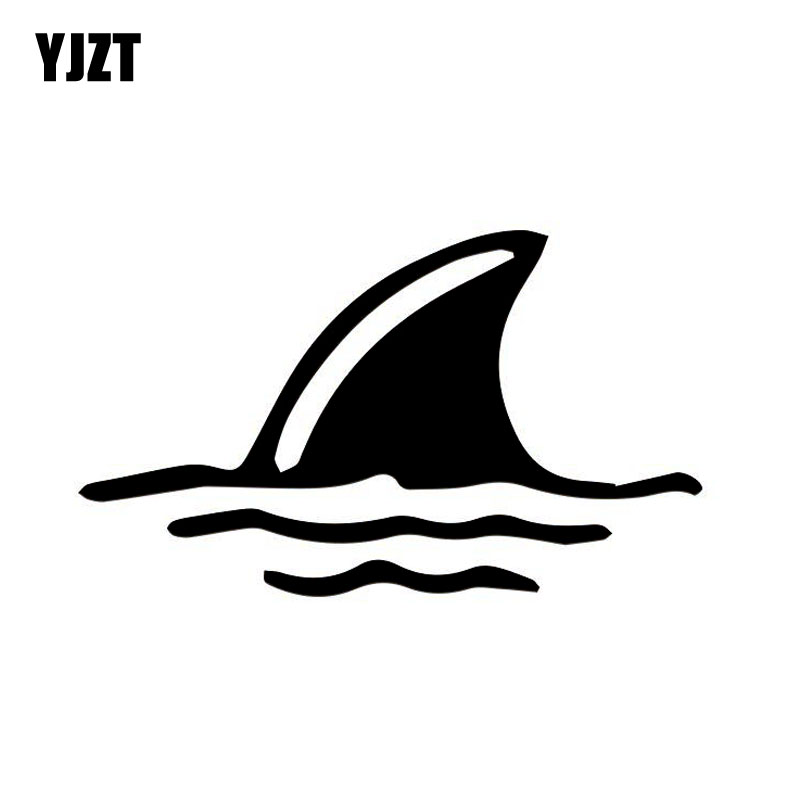 YJZT 11cm*6.5cm SHARK Fin In Water Fun Vinyl Car Sticker ...