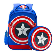 HOT!2016 3D cartoon Captain America children school bag students boy waterproof backpack kids cool anime 6 -12 years child gift(China)