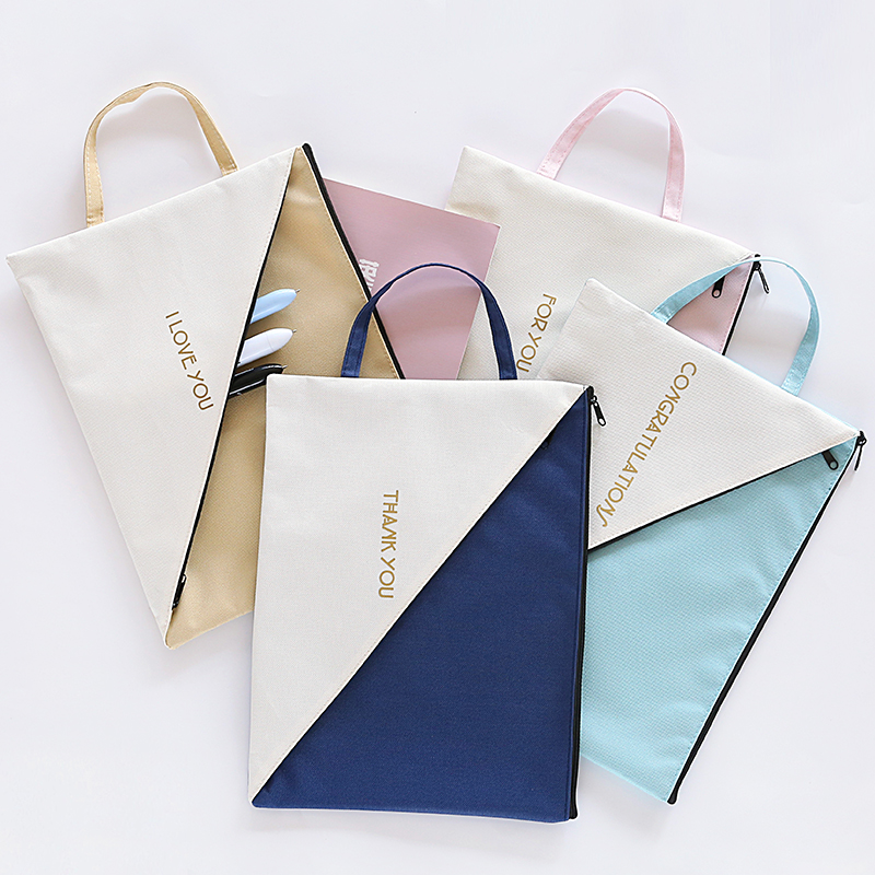 New Creative Canvas Envelope A4 Zipper Receive Bags Large Capacity Bags Student School Stationery