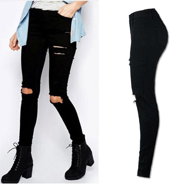 Feitong Pants Women Cool Ripped Knee Cut Skinny Long Pants Pantalones Mujer Slim Pencil Trousers Women Pants Pantalon Femme A201