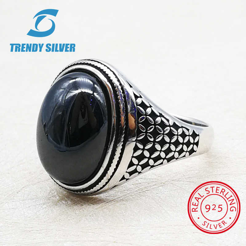 silver 925 fine jewelry man rings men accessories turquoise gemstone natural onyx agate wholesale TRENDY SILVER
