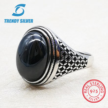 silver 925 fine jewelry man rings men accessories turquoise gemstone natural onyx agate wholesale TRENDY SILVER(China)