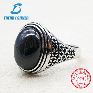 Men Accessories Rings Onyx Turquoise Fine-Jewelry Gemstone SILVER Natural Agate 925 TRENDY