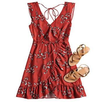 ZAFUL пляжное платье Погружаясь шеи чехол UPS Раффлед поясом Цветок пляжное платье цветочный летний пляжное платье Для женщин Cover Up