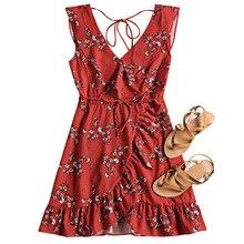 ZAFUL Beach Dress Plunging Neck Cover Ups Ruffled Belted Flower Beach Dress Floral Summer Beach Dress Women Cover Up