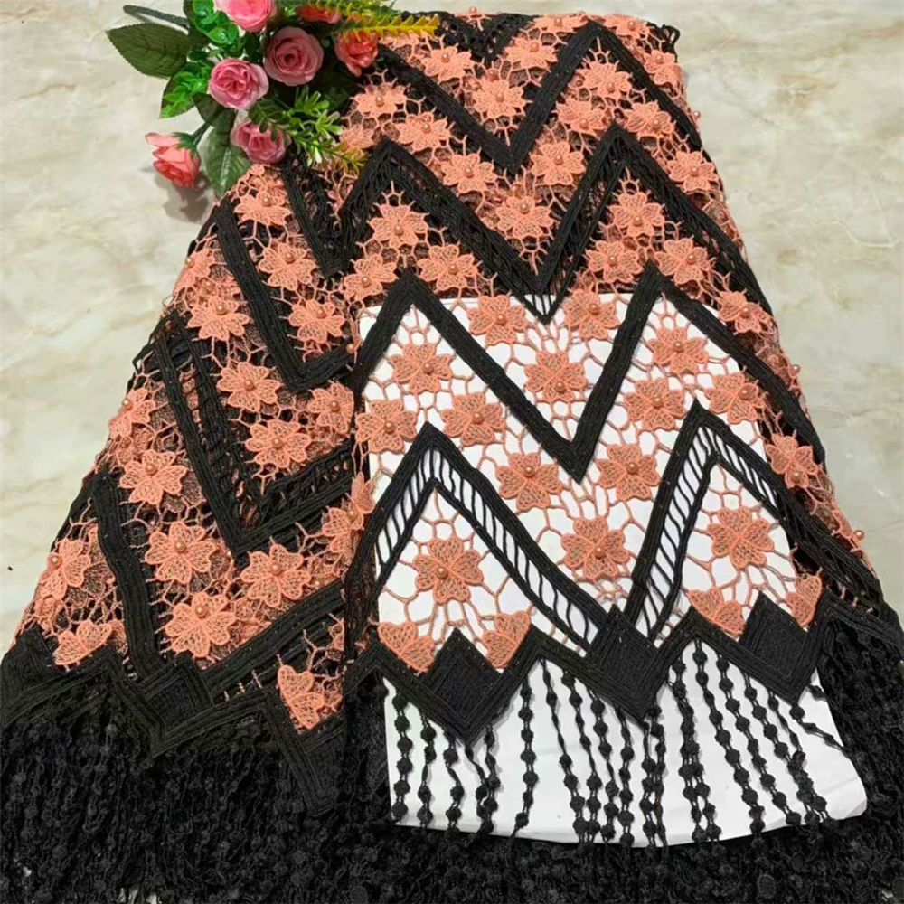 Latest African Lace Fabric 2019 Black and peach Tulle Lace Fabric With Beads High Quality African Nigerian Women For 5yardsLatest African Lace Fabric 2019 Black and peach Tulle Lace Fabric With Beads High Quality African Nigerian Women For 5yards