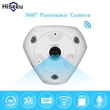 Hd de 3.0mp wifi cámara panorámica de 360 grados de fisheye ptz de red ip cctv cámara de vídeo de almacenamiento remoto ir-onvif audio-in hiseeu