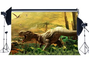 Image 1 - 3D Dinosaur Backdrop Jurassic Period Cartoon Backdrops Jungle Forest Trees Fairytale Photography Background  Decoration