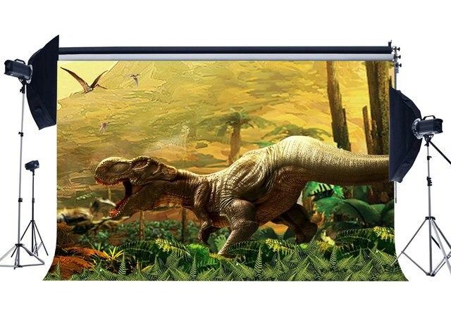 3D Dinosaur Backdrop Jurassic Period Cartoon Backdrops Jungle Forest Trees Fairytale Photography Background  Decoration