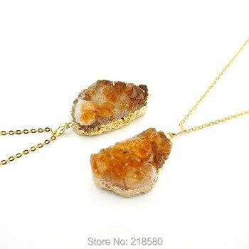 NS0156 Crystal Quartz Raw Citrin e Cluster  Necklace  141209001