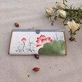 2015 Новый холст долго бумажник Китайский Этническом стиле национальный ручная роспись лотоса Сливы кошелек дамы сцепления мешок монет