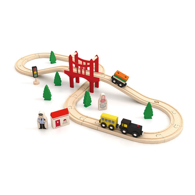 Wooden Train Set Railway Track Building Puzzle Accessories Educational Toys for Boys Girls Over 3 Years