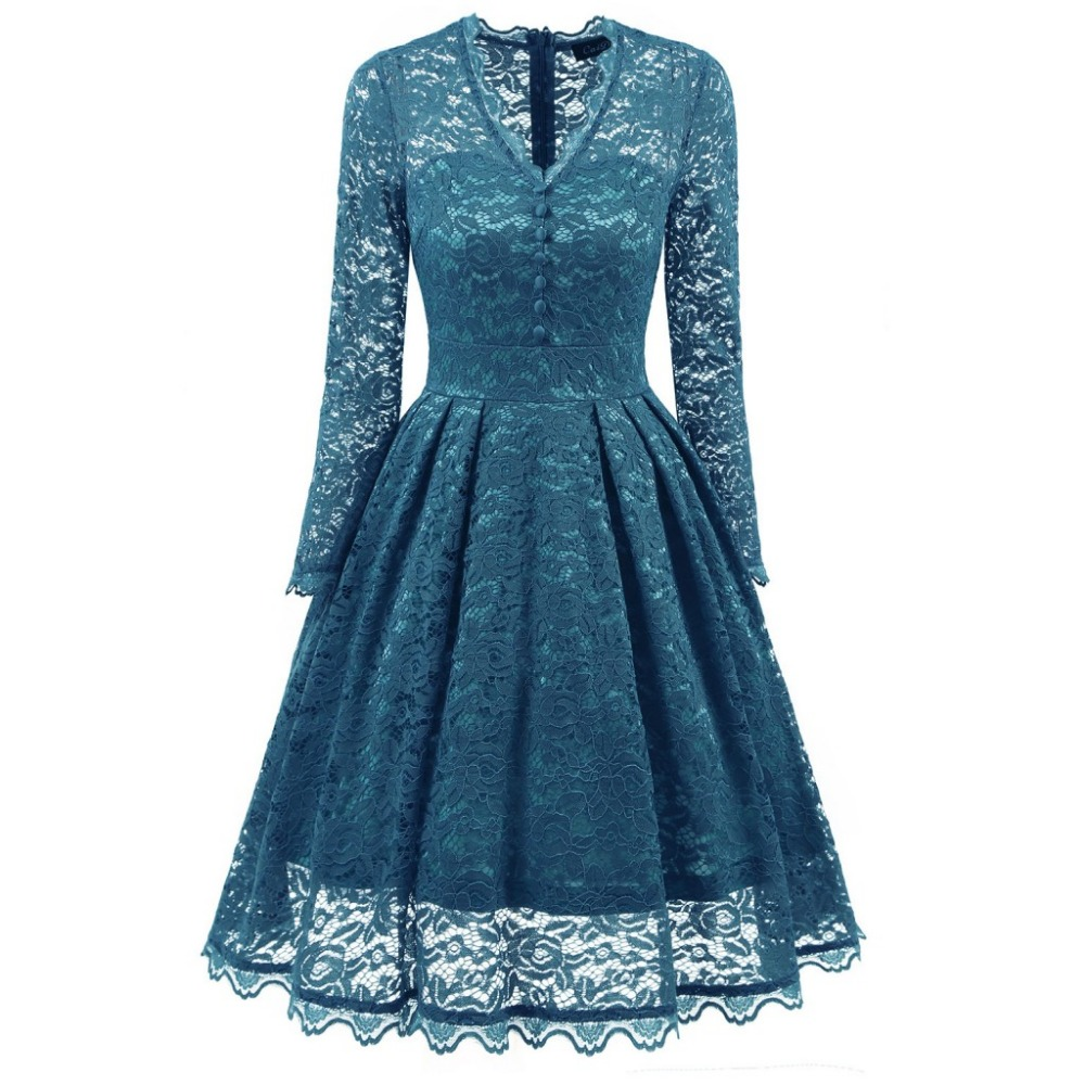 Newest Autumn Party Dress Buttons A Line V Neck Green Lace Dress ...