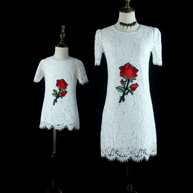 Brand Summer White Lace Embroidery Rose Large Birthday Party Skirts