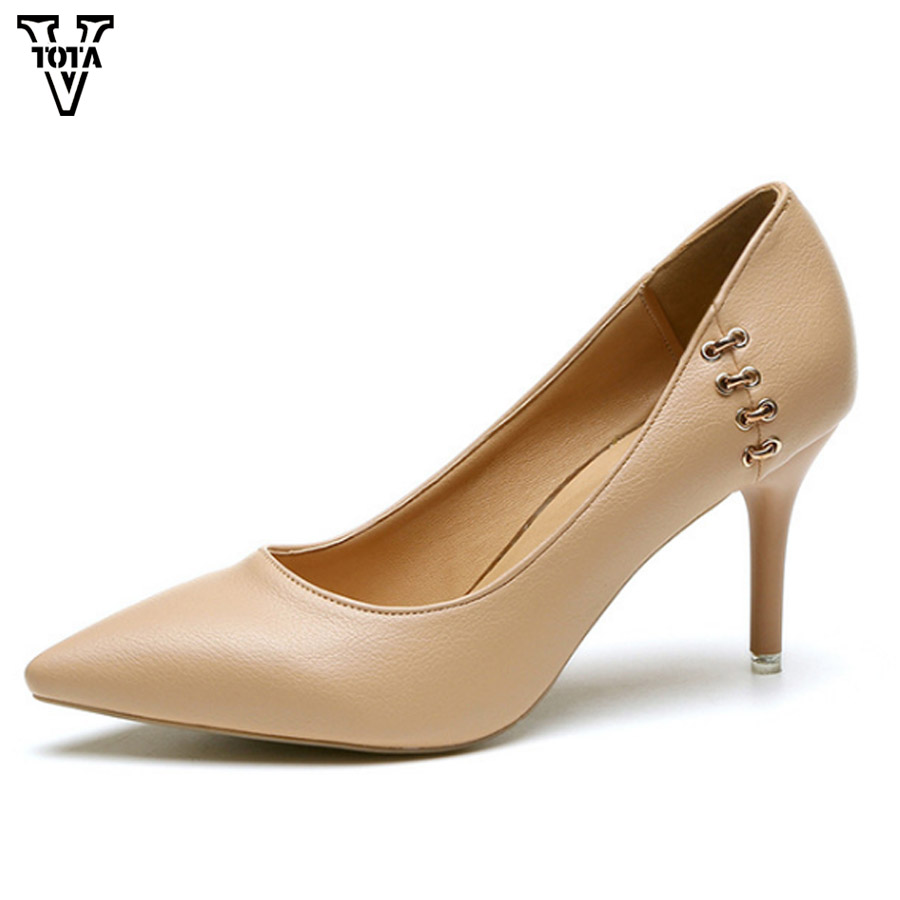 VTOTA 2018 Brand Women Pumps Shoes Pointed Toe High Heels Metal Decorative Office Career Shoes For Lady Fashion Women Shoes FC krazing pot shallow fashion brand shoes genuine leather slip on pointed toe preppy office lady thick high heels women pumps l18