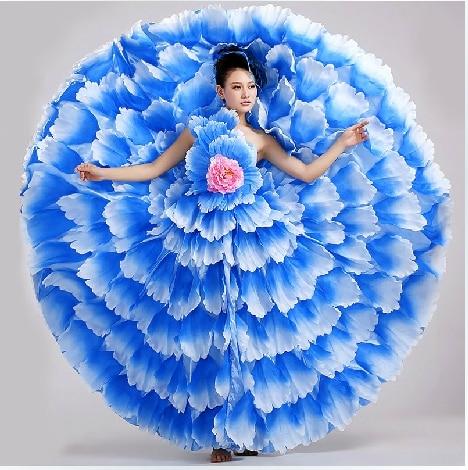 S 3XL Women Flamenco Dance Costume Female Modern Dance Expansion Dress 4 Color Spanish Dance Costume