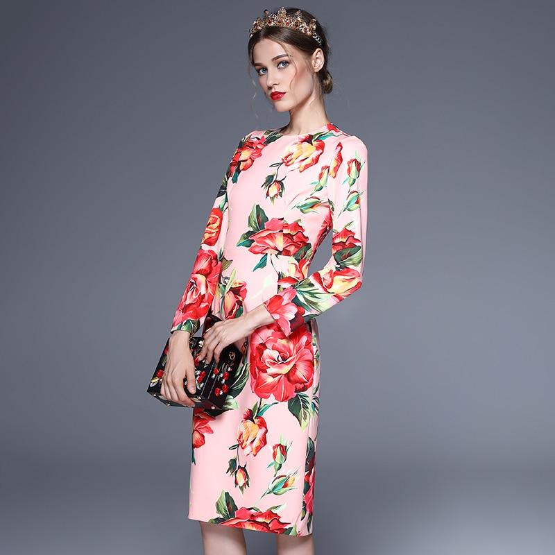 Flora Élégante Manches Imprimer mollet Piste Robe 2018 Rose Printemps Femme Personnalisé Vintage Mi Robes Nouveau Pleine Cq4UAwf