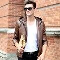 New Autumn and Winter Men's Faux Sheep Skin Leather Jacket Men Vintage Jackets Fashion Coat Style Coats Free Shipping