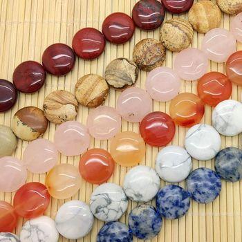 e757912bbb65 De cuentas de piedra moneda plana disco redondo perlas 14mm Puff para la  fabricación de la joyería DIY Unakite Jaspers de etc.