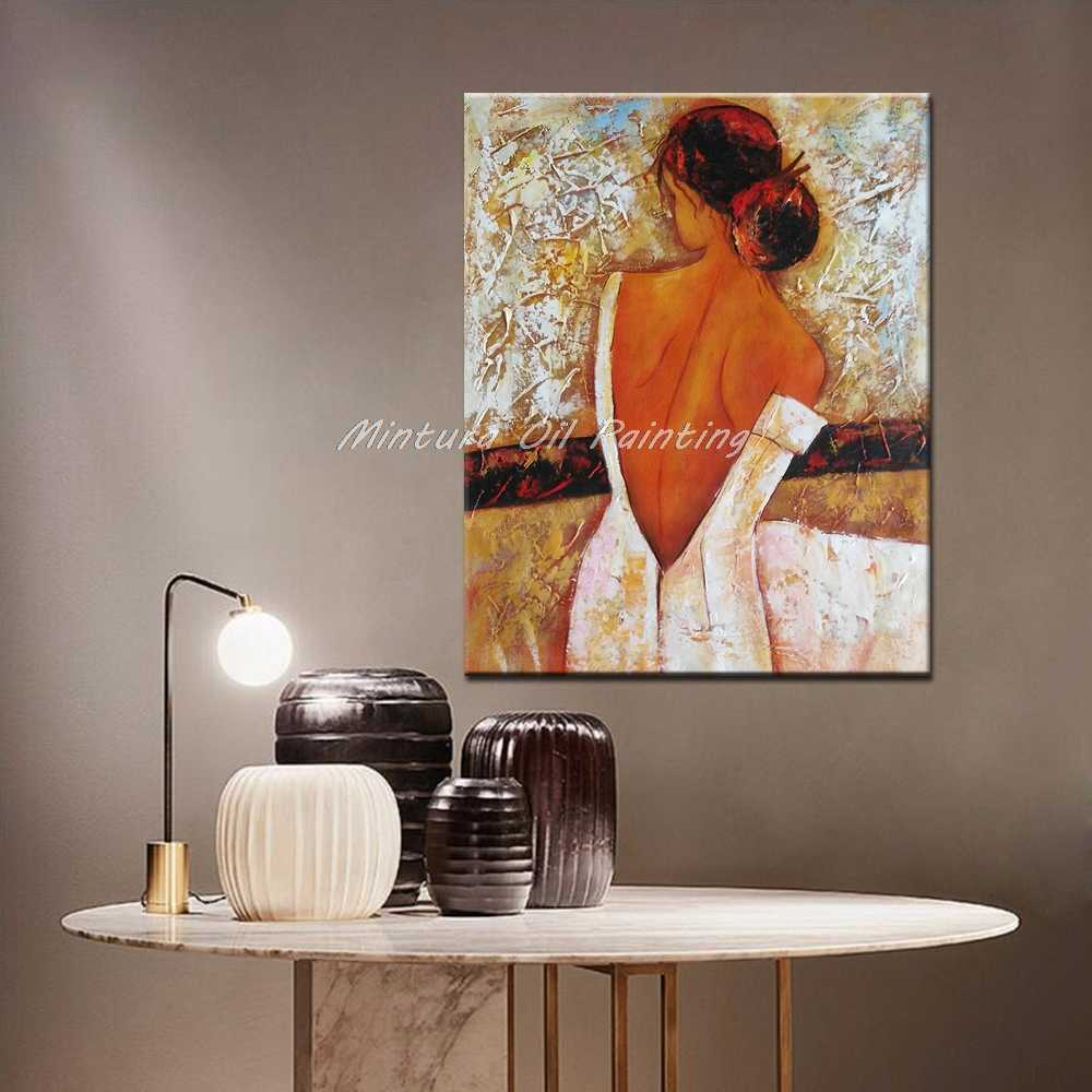 Mintura Art Hand Painted Naked Woman Figure Oil Painting On Canvas Modern Abstract Wall Art Pictures For Living Room Home Decor