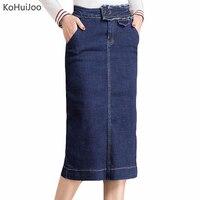 KoHuiJoo 2018 New Plus Size Denim Skirts For Women Pockets Slim High Waist Pencil Denim Skirts