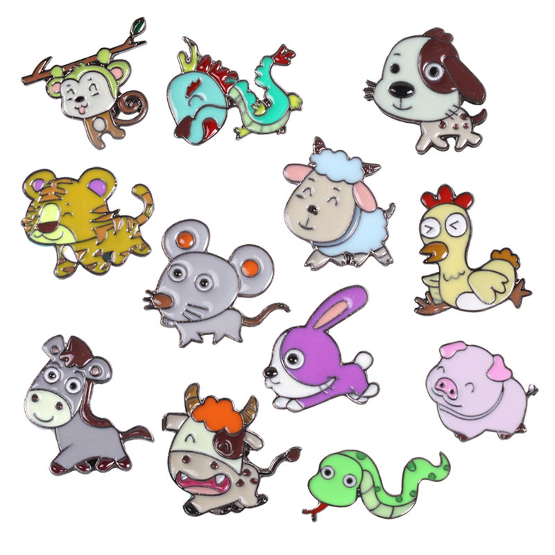 Cute Zodiac Animal Rat Cattle Tiger Rabbit Dragon Snake