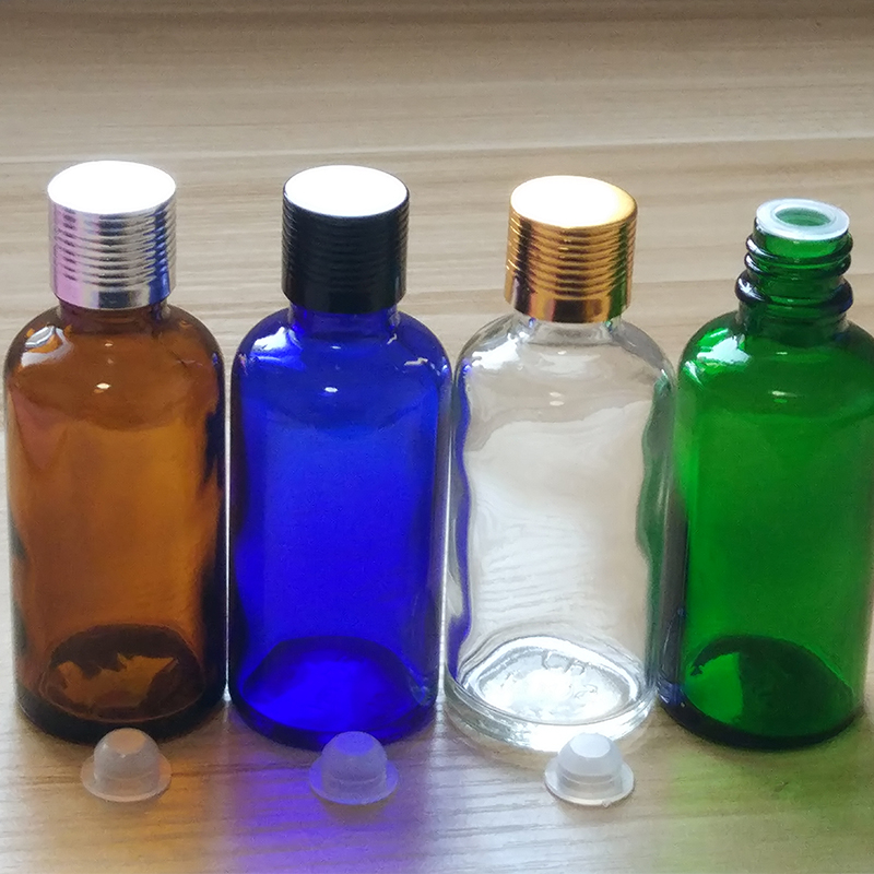 50ml Clear Amber Green Blue Glass bottles with alumina Caps and inner plug if you order over 150pcs price 30 off in Refillable Bottles from Beauty Health