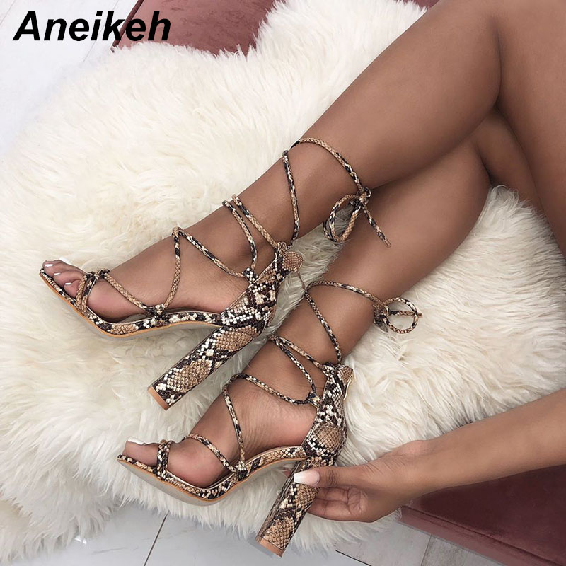 Aneikeh 2018 Summer Women Sandals Ankle Strap High Heels PU Leopard Print Sexy Lace-Up Square Heel Sandals Shoes Size 35-40