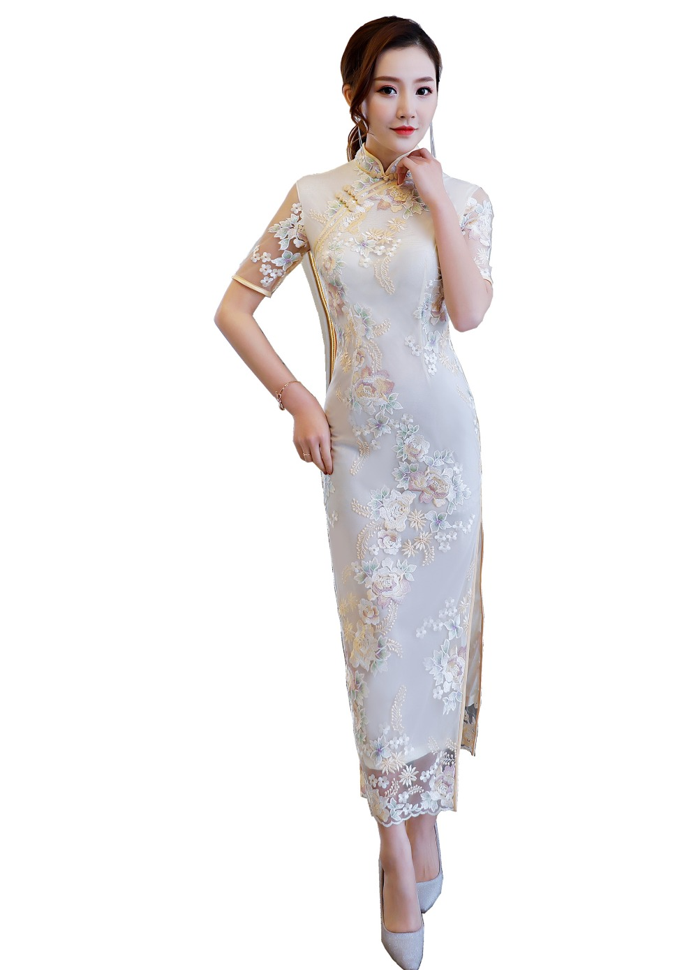 Shanghai Story chinese traditional clothing chinese style dresses long Cheongsam Short Sleeve Floral Embroidery Lace Qipao fashion summer style kids baby girls peacock dress cheongsam chinese qipao floral pattern dresses
