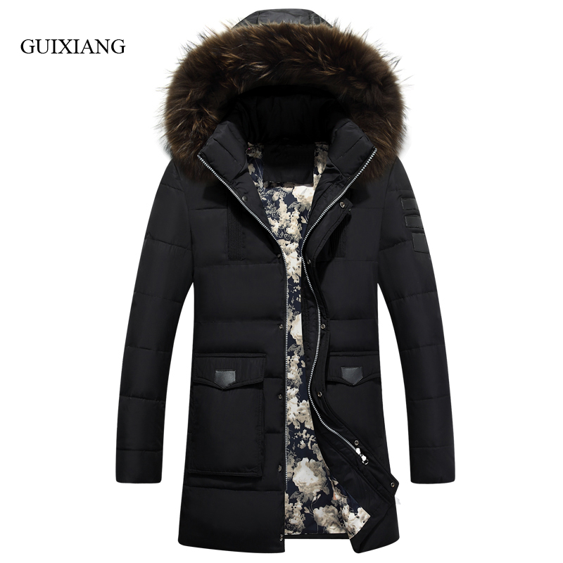 2017 new arrival style men boutique feather parkas detachable big hair collar men's solid thick cotton padded clothes size M-3XL new arrival style men boutique parkas fashion solid detachable large hair collar men s loose thick jacket coat large size l 7xl
