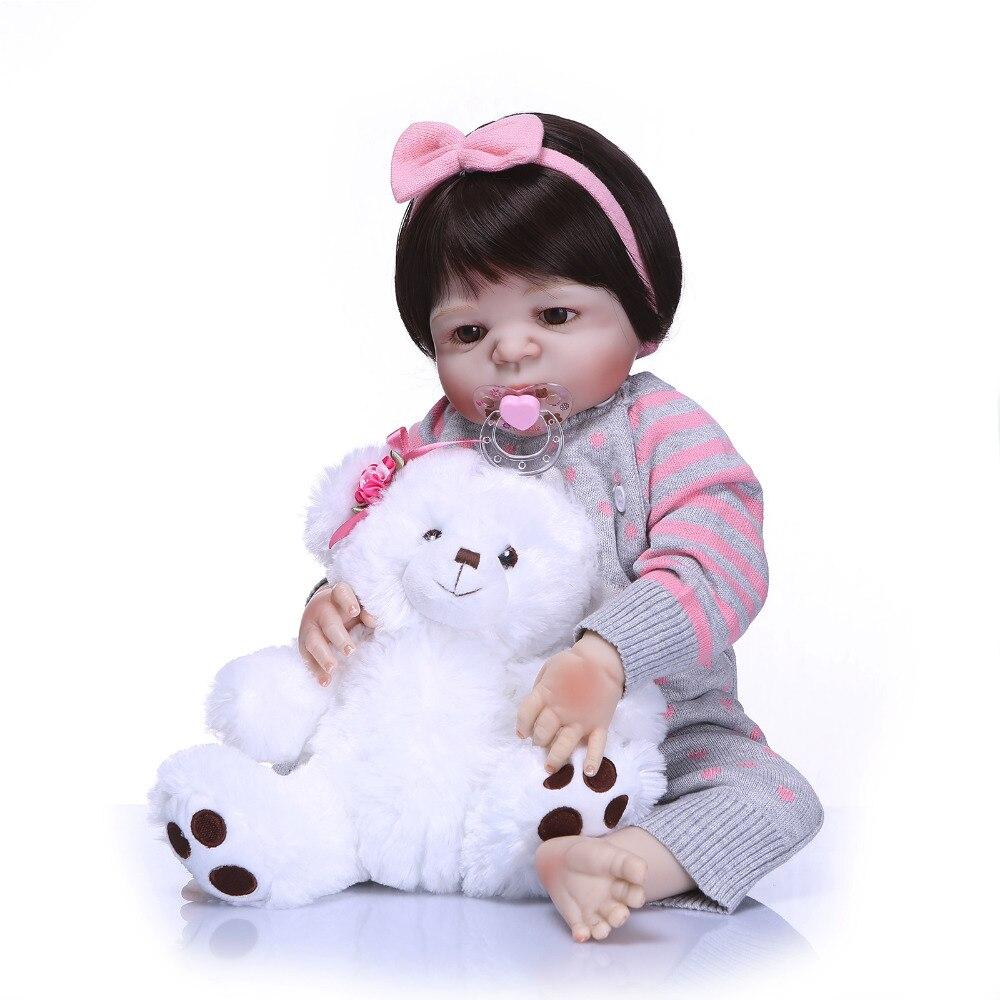 Здесь можно купить  Nicery 22inch 55cm Bebe Reborn Doll Hard Silicone Boy Girl Toy Reborn Baby Doll Gift for Child Gray Clothes Bear Baby Doll   Игрушки и Хобби