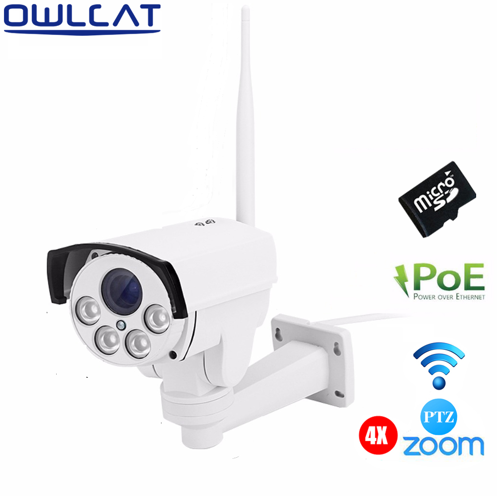 OWLCAT SONY IMX323 HD 1080P 4X Auto Zoom Outdoor PTZ POE External CCTV WIFI IP Camera IR Onvif &SD Card Motion Detection Support wholesale hvt 2601 3 5 tft lcd camera cctv poe tester ptz controller zoom dvr