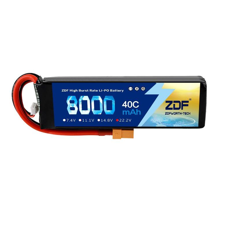 ZDF moc 22.2 V 8000 mAh 60C 6 S Lipo baterii akumulator z XT60 złącze wtykowe dla modelu RC multicoptera części acc w Części i akcesoria od Zabawki i hobby na  Grupa 2