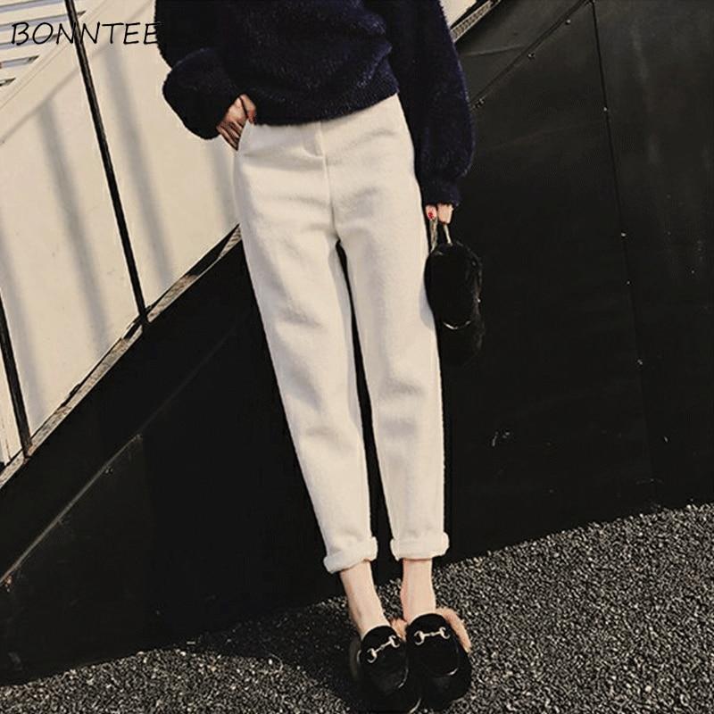 Pants Women Thicker Warm Leisure Pockets Trendy Elegant Outside Womens Korean Style High Waist Ladies All-match 2019 Vacation