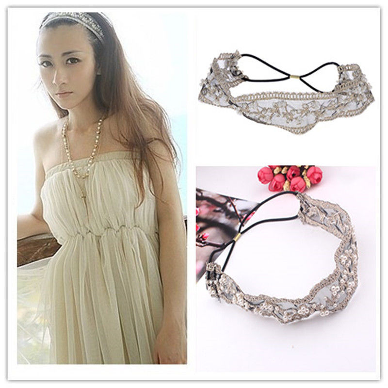 Fashion Lace Pearl Beads Headhand Hairband Hair Head Band Fashion For Girls Gift ...
