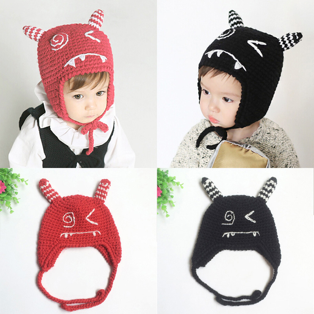 2017 Lovely Kids Knitted Baby Caps Winter Warm Boys Girls Toddler Crochet Beanie Ear Baby Hat Cute Children Caps Hot Sales newborn kids skullies caps children baby boys girls soft toddler cute cap new sale