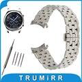 22mm de aço inoxidável watch band para samsung gear clássico s3/fronteira borboleta bracelete de pulso pulseira cinto de prata preto