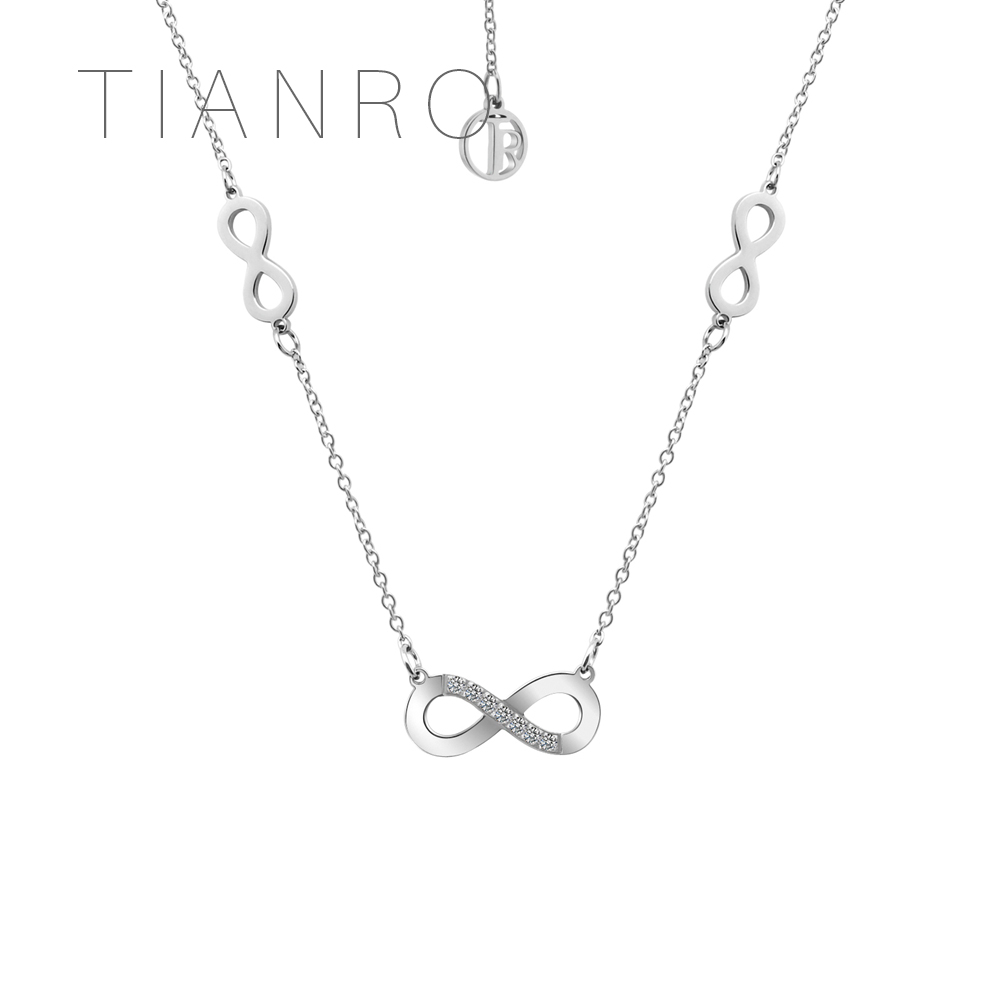TIANRO Unlimited Brand of Stainless Steel Necklaces CNC inlaid 3A zircon High quality ladies' jewelry