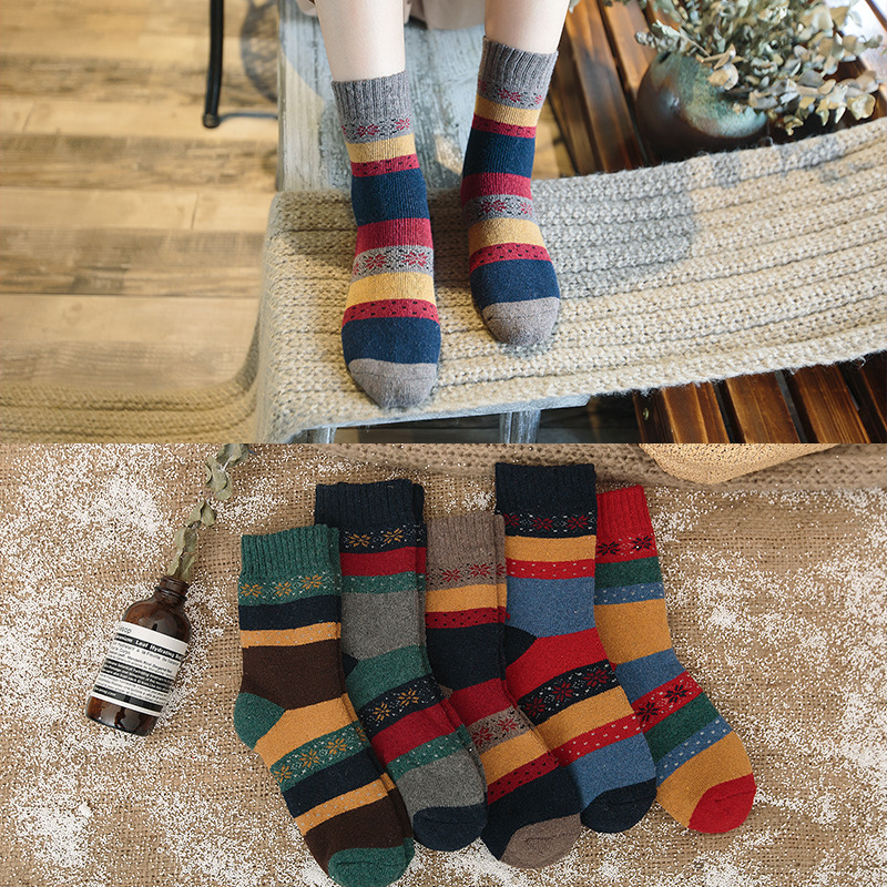 Autumn and winter new ladies socks Personality thick striped socks Thick warm rabbit socks wholesale 308
