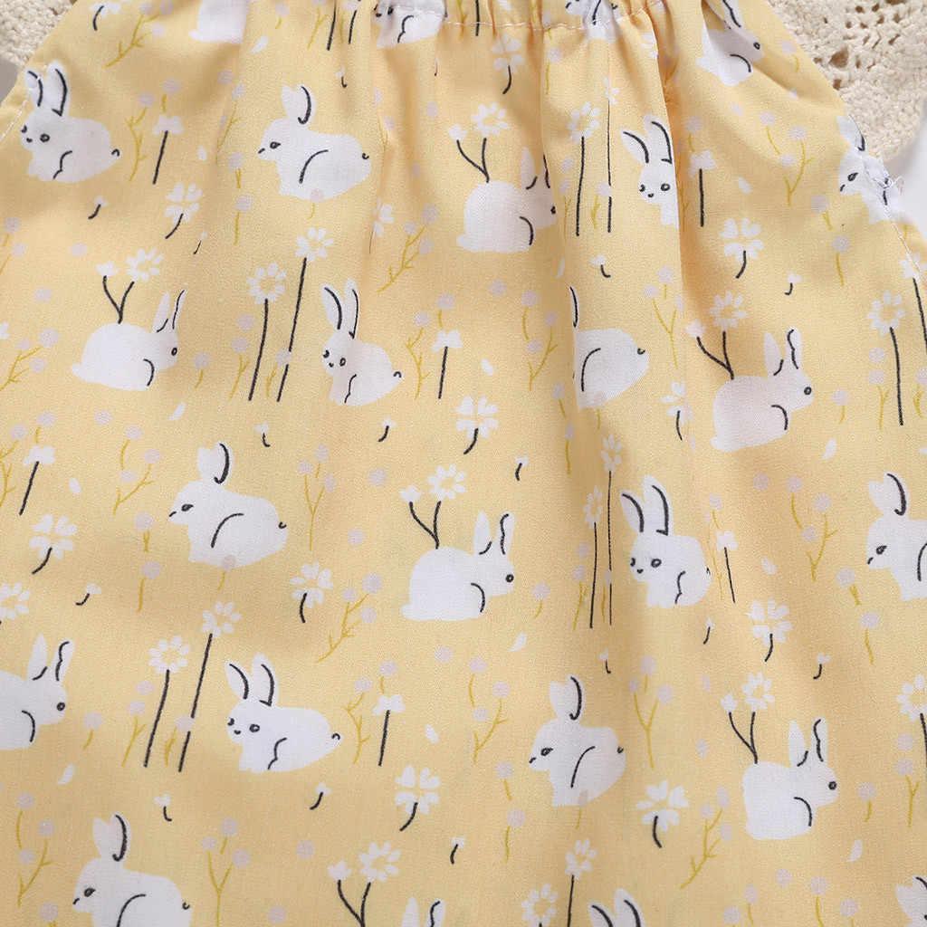 Лето 2019 modis новорожденных для маленьких девочек Пасхальная одежда Кролик печати комбинезон vestido infantil ropa bebe