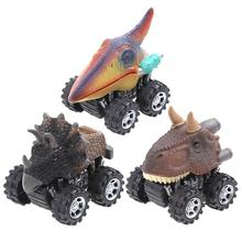 Mini Dinosaur Car Plastic Spring Pull Back Car Model Vehicle Wind-up Toys Kids Educational Toy Children Gifts for Boys
