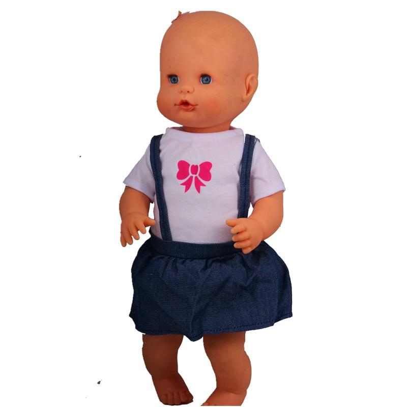 16inch Doll Clothes 41CM Nenuco Ropa Accesorios Nenuco 40cm Baby Doll O Collar White T-shirt Jean Suspender Skirt