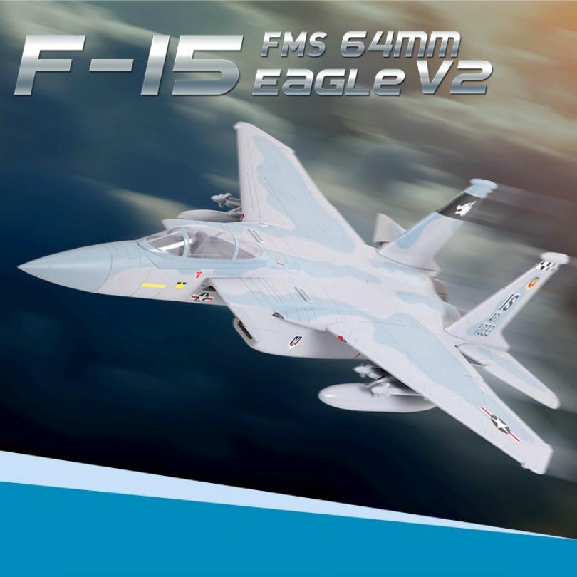 FMS RC Avion 64mm F15 F-15 V2 Aigle Ventilateur Soufflant EDF Jet Ciel Camo 4S Échelle Warbird Combattant Modèle passe-temps Avion Aircraft Avion PNP