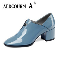 Aercourm A 2019 Women Genuine Leather Dress Shoes Ladies Loafer Solid Shoes Square Heel Women Round Toe Pumps Black Blue Shoes