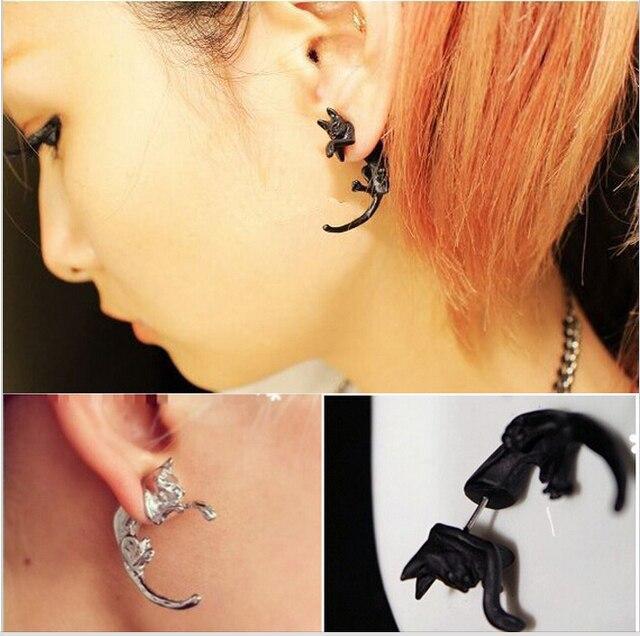 1pc Por Long Tail Small Leopard Piercing Stud Earrings Black Cat For S Boys Mens