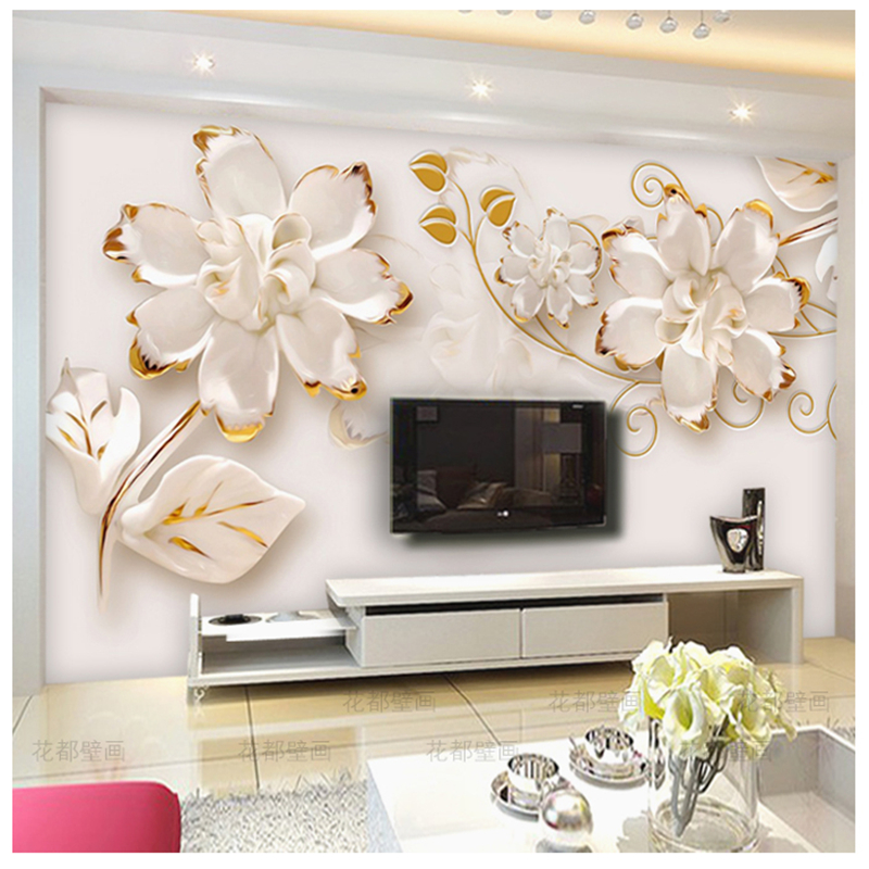 Beibehang custom mural wallpaper relief flower 3d photo for 3d photo wallpaper for living room